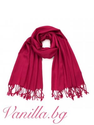 Червен дамски шал с ресни