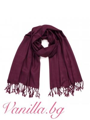Дамски шал с ресни - цвят бордо