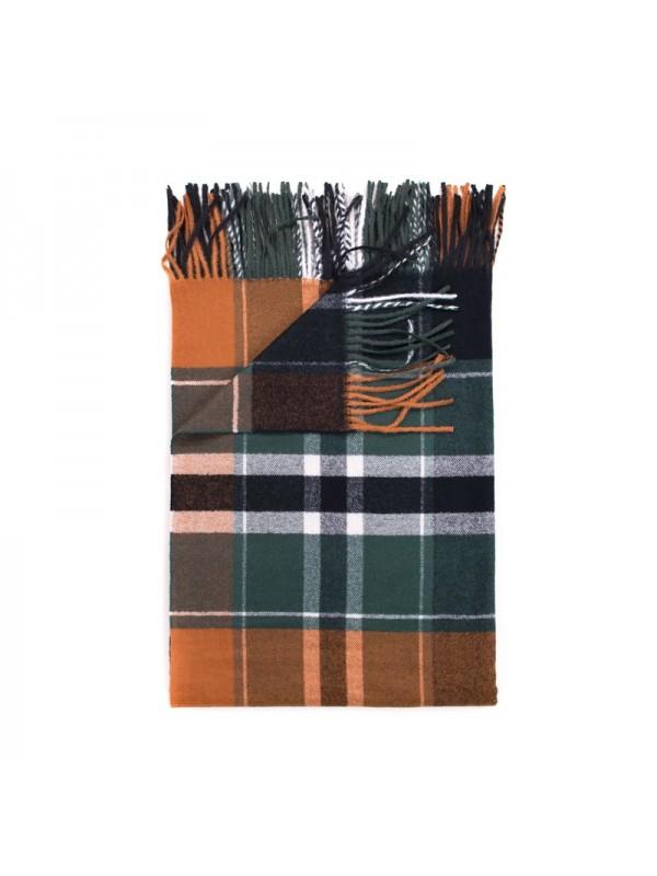 Кариран шал в оранжево и зелено