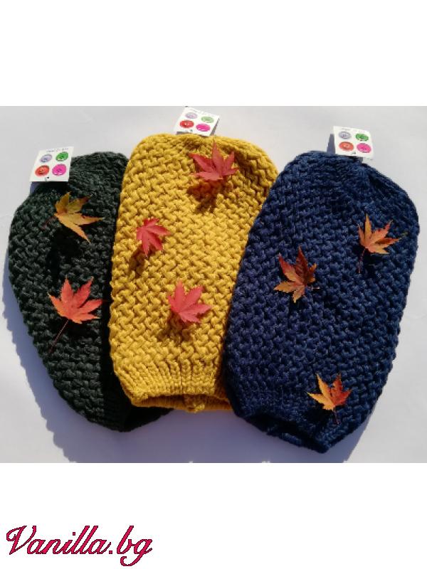 Дамска шапка с едра плетка — Шапки | vanilla.bg