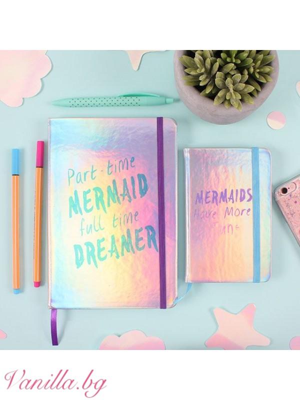 Офис аксесоари - Луксозен тефтер Part time Mermaid, full time Dreamer - формат А5