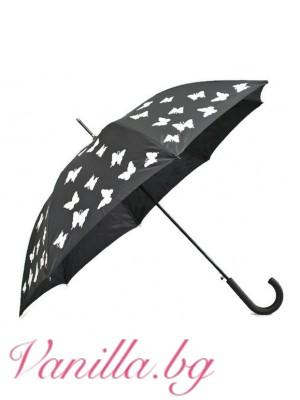 Черен чадър с пеперуди