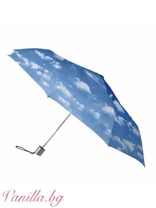 Компактен сгъваем дамски чадър с щампа облаци