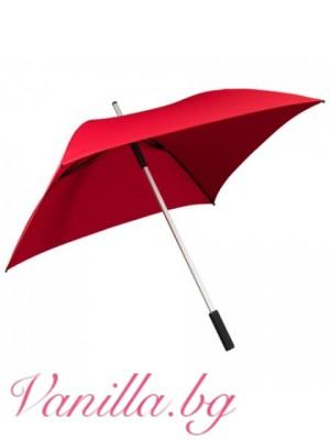 Квадратен чадър в червено