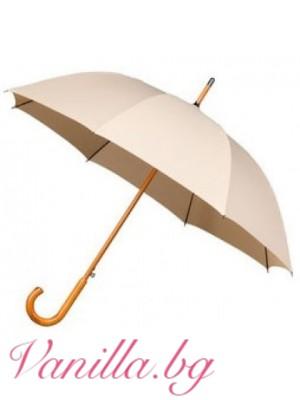 Бежов чадър с дървена дръжка - Warwick