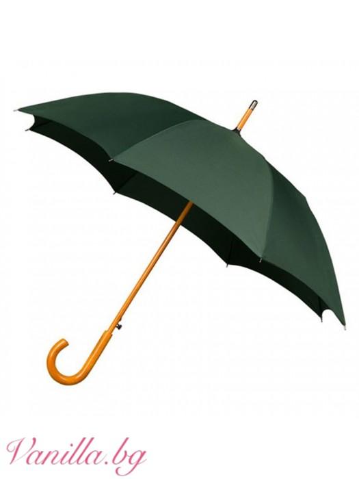 Ветроустойчив тъмно зелен чадър Warwick