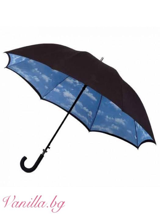 Луксозен дамски чадър с двулицев плат на корпуса