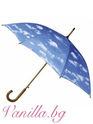 Луксозен дамски чадър с щампа облаци