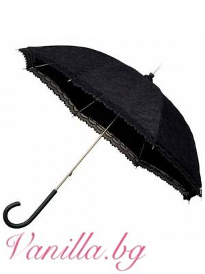 Черен дантелен дамски чадър във викториански стил