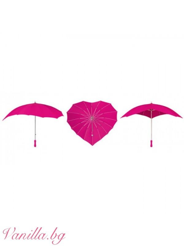 Чадъри - Ярко розов дамски чадър с форма на сърце