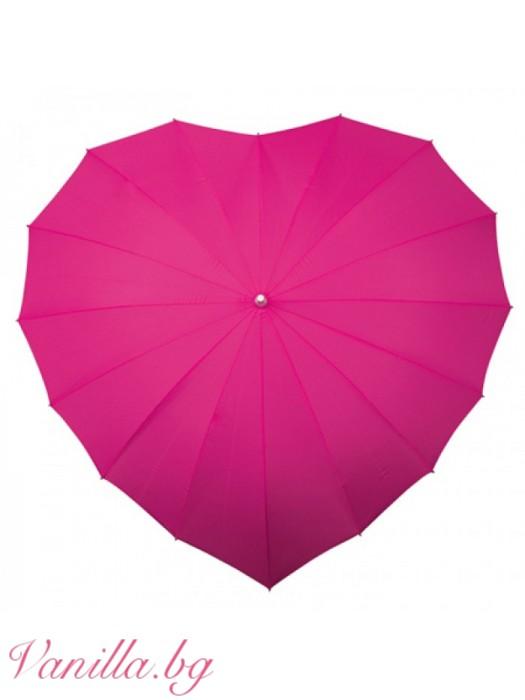 Ярко розов дамски чадър с форма на сърце