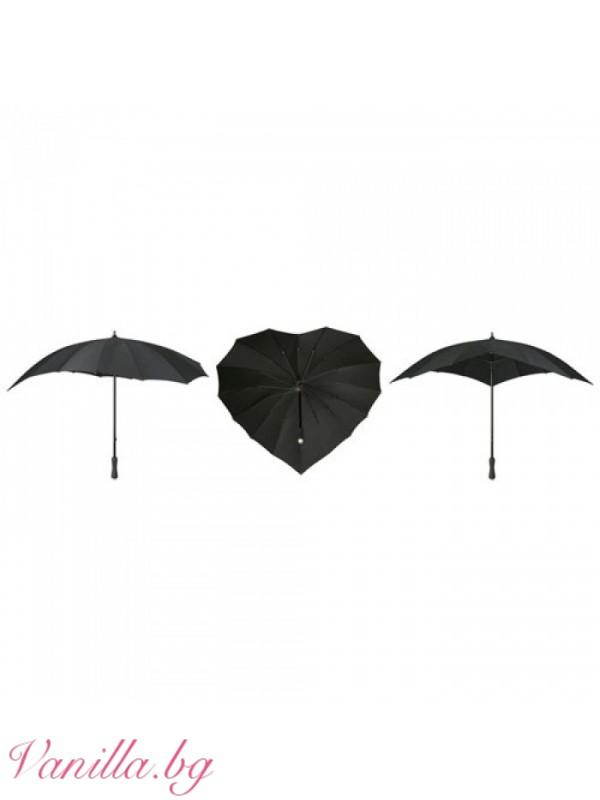 Черен дамски чадър във форма на сърце — Чадъри | vanilla.bg