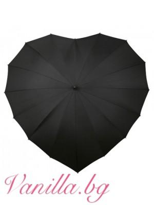 Черен дамски чадър във форма на сърце