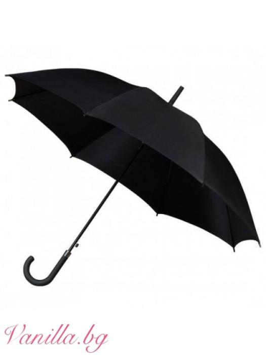 Луксозен унисекс чадър в черно