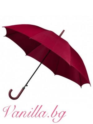 Луксозен унисекс чадър в тъмно червено