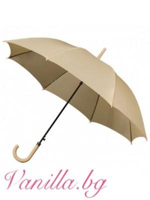 Луксозен унисекс чадър в бежово