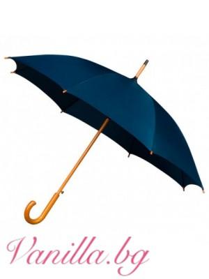 Тъмно син чадър с дървена дръжка