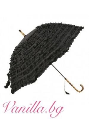Черен луксозен дамски чадър с волани в ретро стил