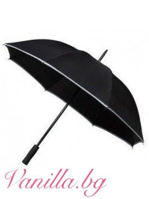 Черен чадър със светлоотразителна лента