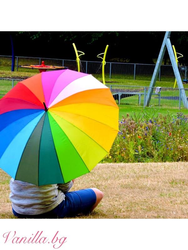 Чадъри - Шарен дамски чадър Дъга