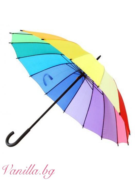 Шарен дамски чадър Дъга
