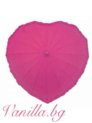 Розов дамски чадър с форма на сърце с волани по краищата
