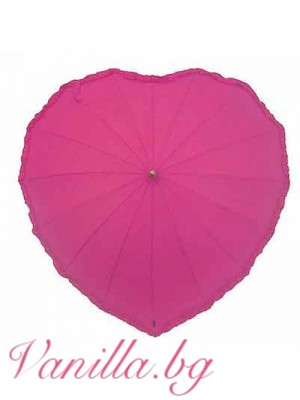 Ярко розов дамски чадър с форма на сърце с къдрички по краищата