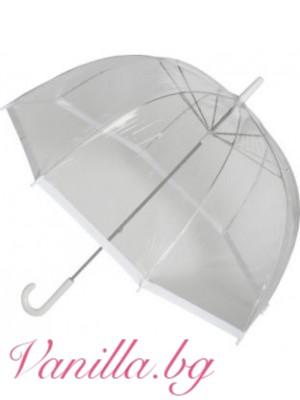 Прозрачен чадър с бял кант