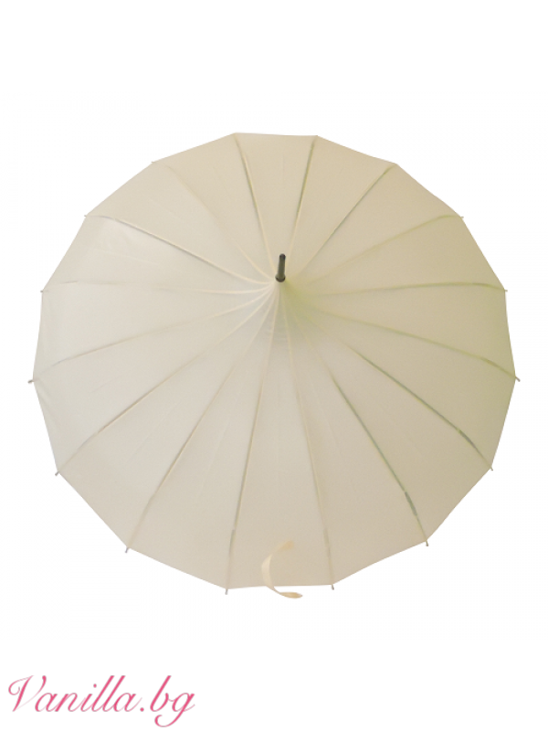 За вас - чадъри - Дамски чадър тип пагода в цвят слонова кост