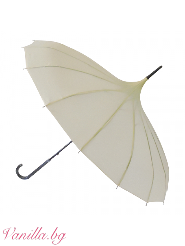 Дамски чадър тип пагода в цвят слонова кост — Чадъри | vanilla.bg