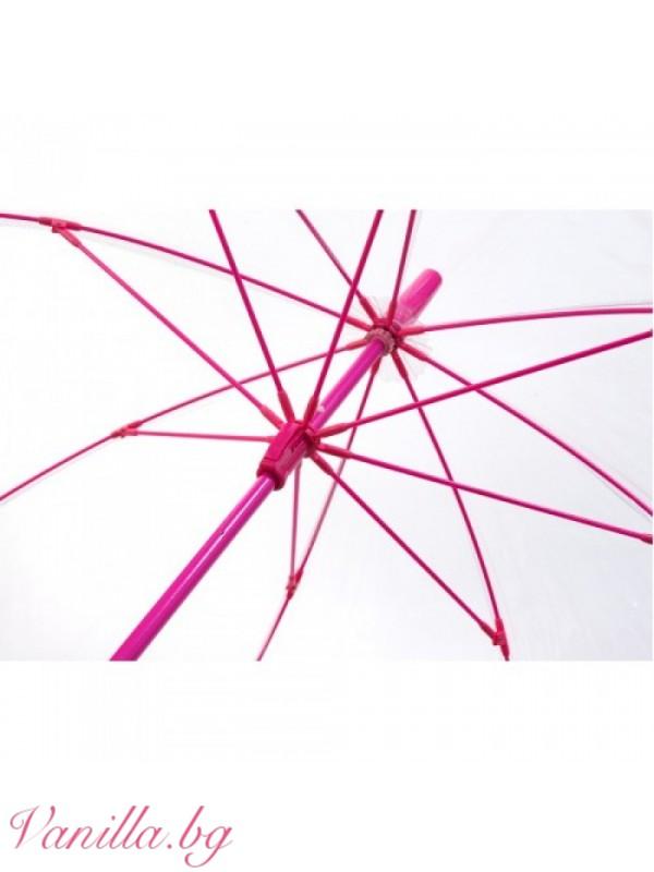 Прозрачен чадър с розови спици — Чадъри   vanilla.bg