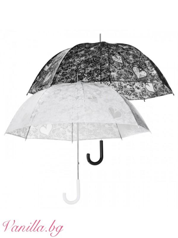Чадъри - Прозрачен найлонов дамски чадър с щампа на черна дантела и сърца