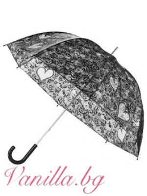 Прозрачен найлонов дамски чадър с щампа на черна дантела и сърца