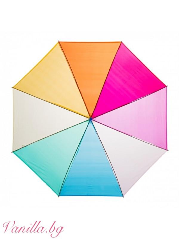 Чадъри - Дамски прозрачен найлонов чадър Дъга