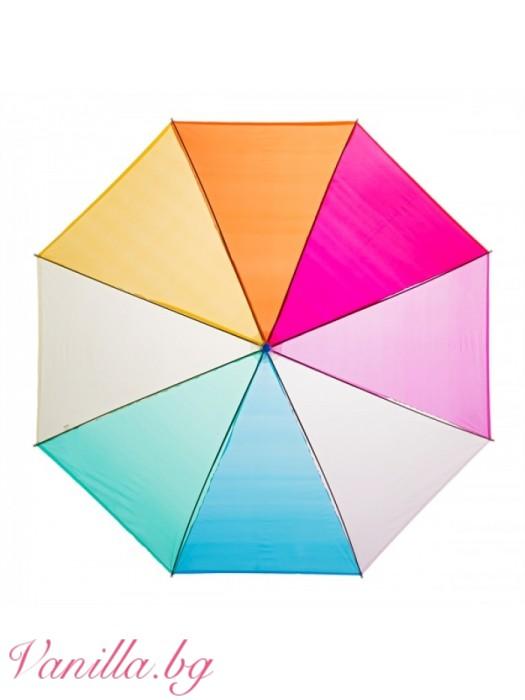 Дамски прозрачен найлонов чадър Дъга