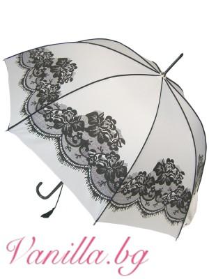Бял дамски чадър с щампа черна дантела във винтидж стил