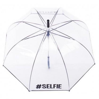 прозрачен чадър с надпис #SELFIE
