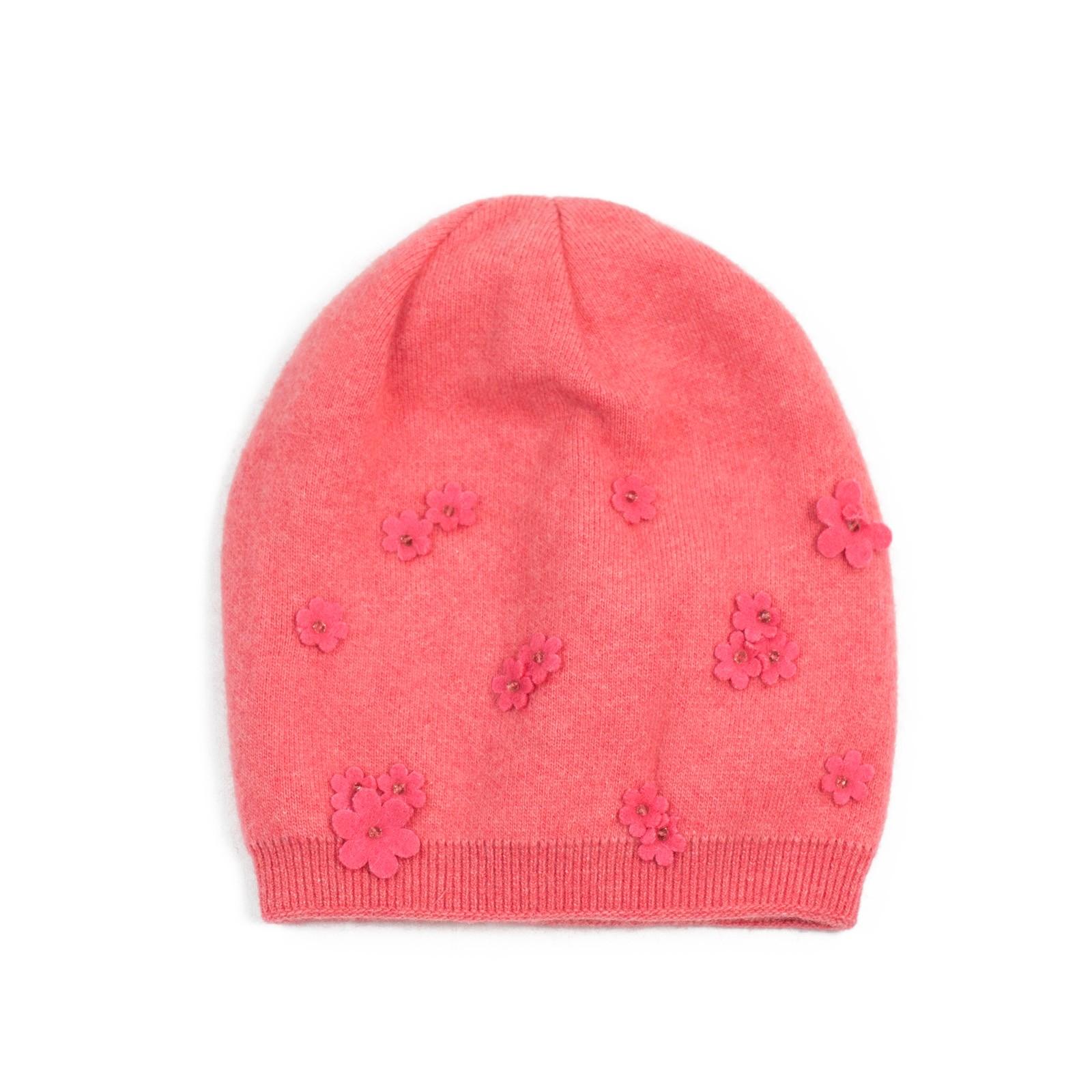 розова шапка от вълна и кашмир