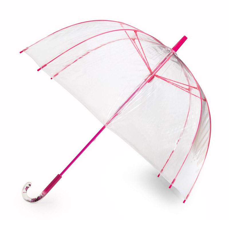 прозрачен чадър с розови спици
